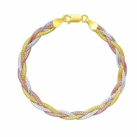 Bracelets   Sterling Silver  Woven Tri-Color Bracelet - mewe-jewelry.com