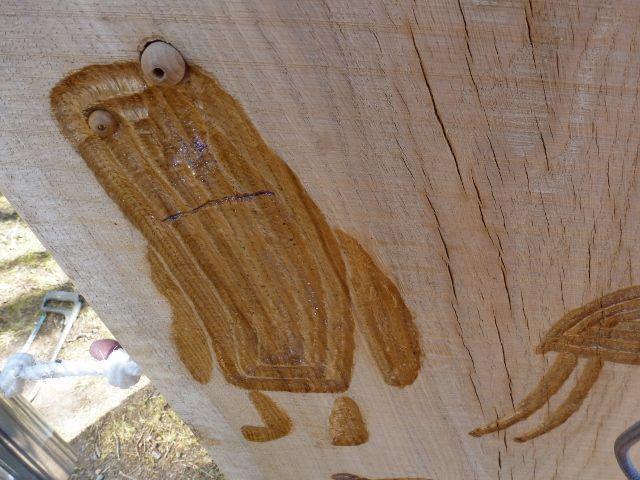 varnished oak carving