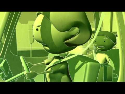 GreenLight - Getting out of the car - Car safety educational video cartoon for kids