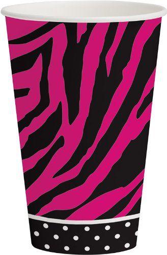 AmazonSmile: Creative Converting Pink Zebra Boutique Round Dessert Plates, 8 Count: Kitchen & Dining