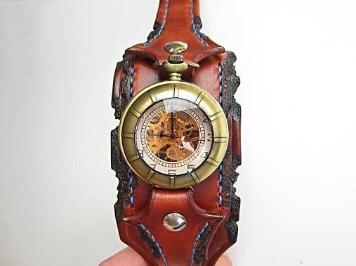 leon / Steampunk hodinky, kožený remienok