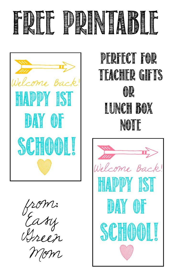 Welcome Back First Day of School Free Printable