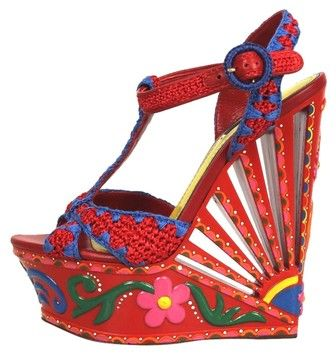 Dolce&Gabbana Red Floral Painted 170mm Woven Raffia Multicolor Wedges on Sale, 78% Off | Wedges on Sale at Tradesy
