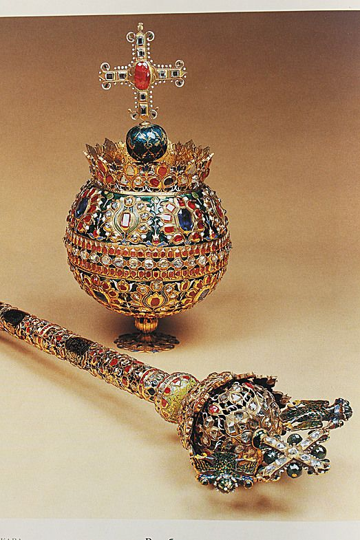 The orb and scepter of Tsar Alexey I Romanov,  father of Peter I The Great, Tsarevna Sophia, Tsar Ivan and Tsar Feodor. All his children died between the age of 20 and 45.