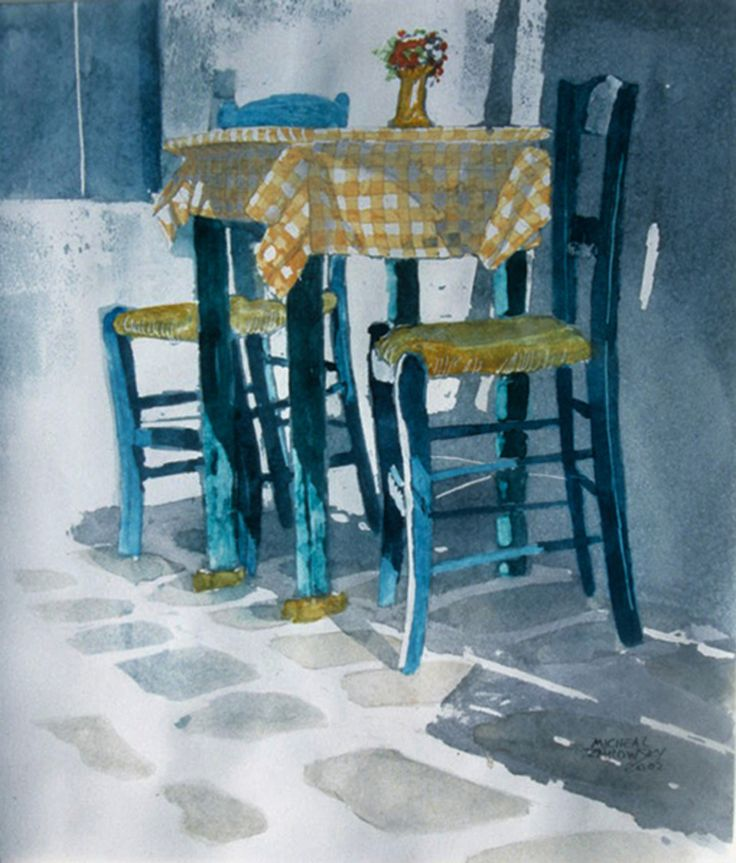 """table for 2 outdoor cafe nouasa, paros  12"""" x 10""""  micheal zarowsky / watercolour on arches paper / private collection"""