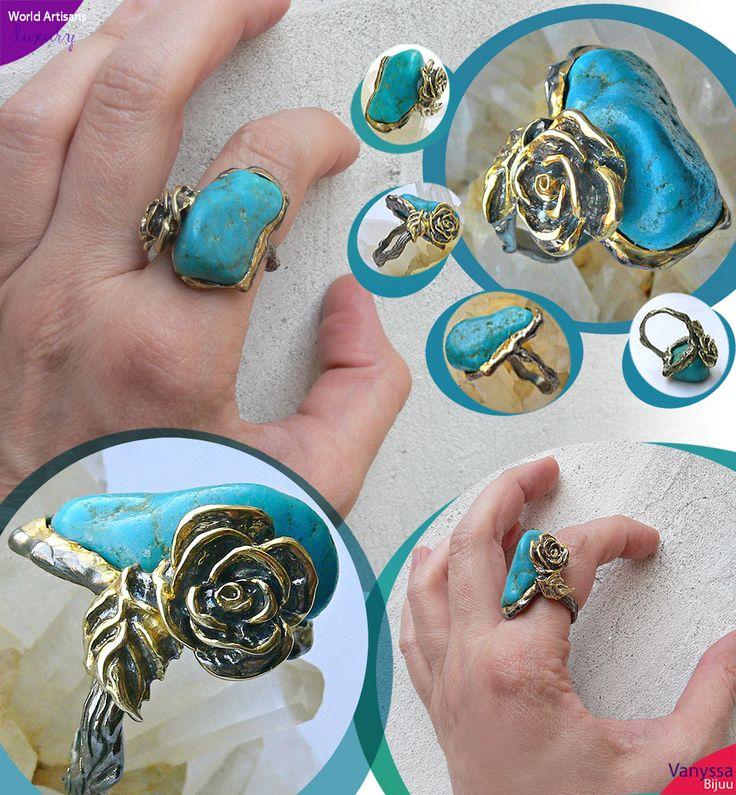 Handmade Striking Cobalt Blue Columbian Turquoise Nugget 925 Ring