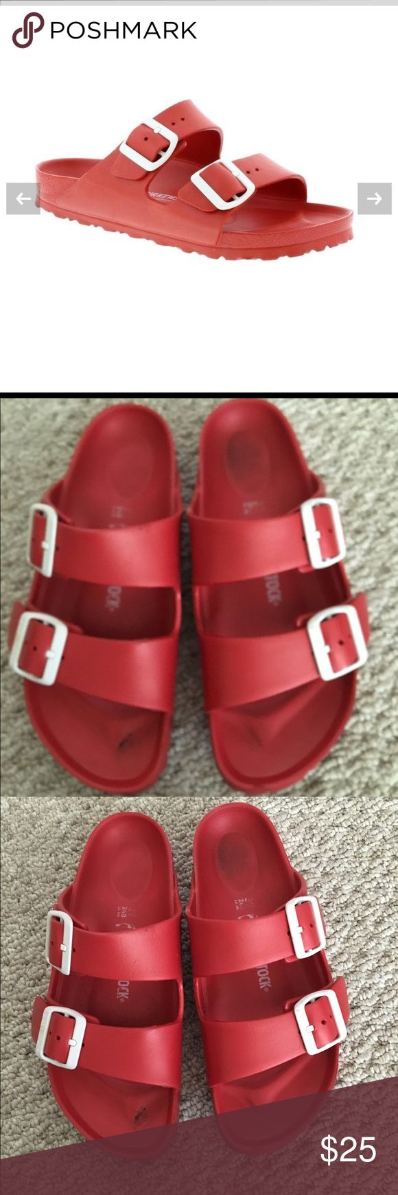 Red Soft Plastic Birkenstocks 37 Worn just a few times size 37 no trades Shoes