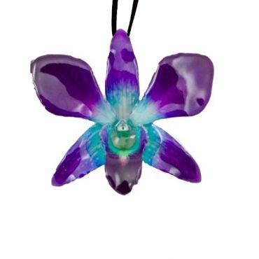 Real Orchids Preserved in Resin- Blue/Purple-Dendorbium Necklace/ Brooch $45