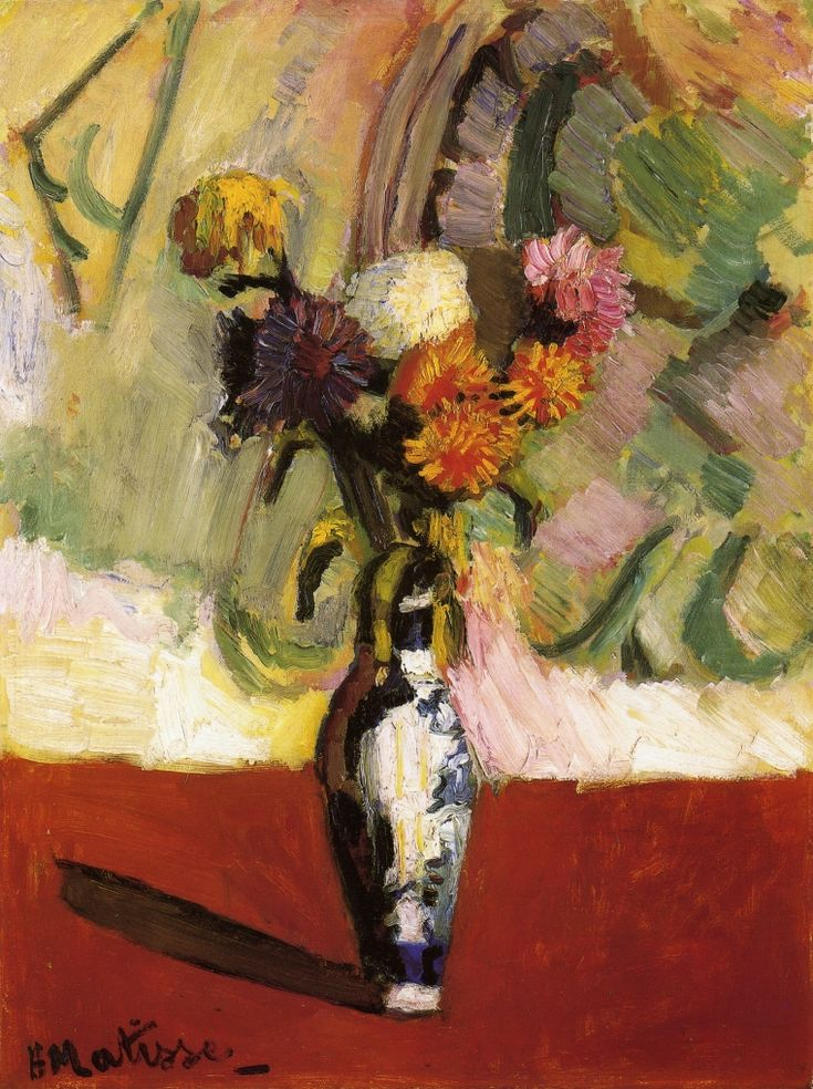 Henri Matisse (French, 1869-1954), Chrysanthemums in a Chinese Vase, 1902. Oil on board, 71 x 54 cm.
