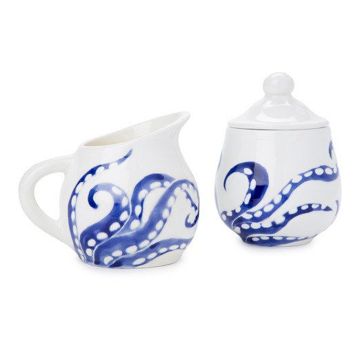 navy blue and white octopus legs ceramic sugar  by jessicahoward, $85.00
