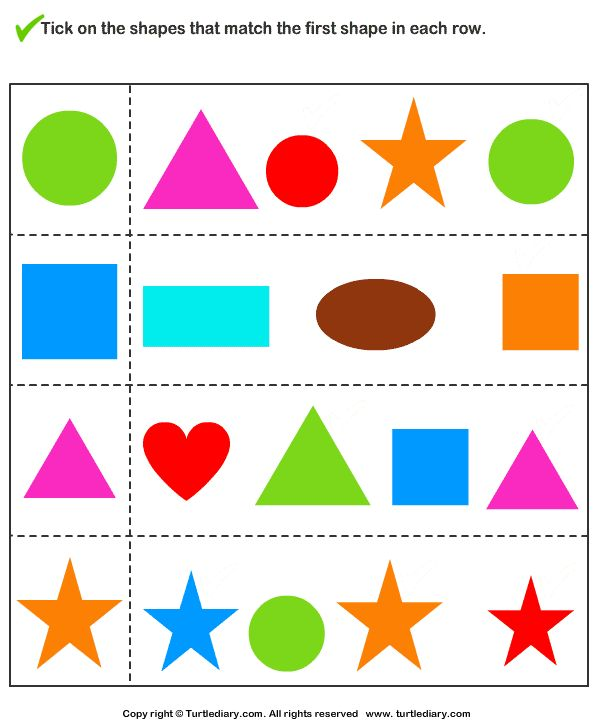 Download and print Turtle Diary's Tick Shapes that Matches ...