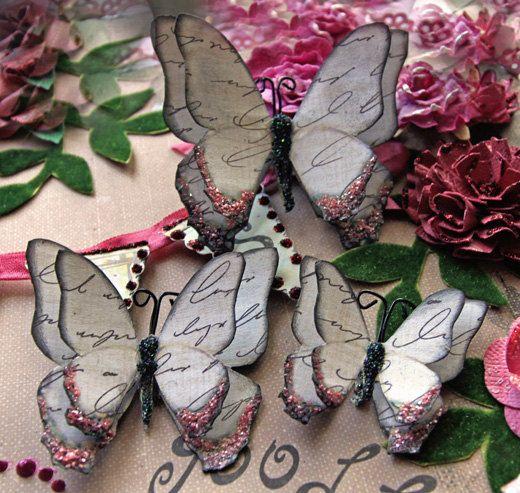 Butterfly Set - Vintage Romance Butterflies Scrapbook Embellishment Tag Card Mini Album Wedding. $3.25, via Etsy.