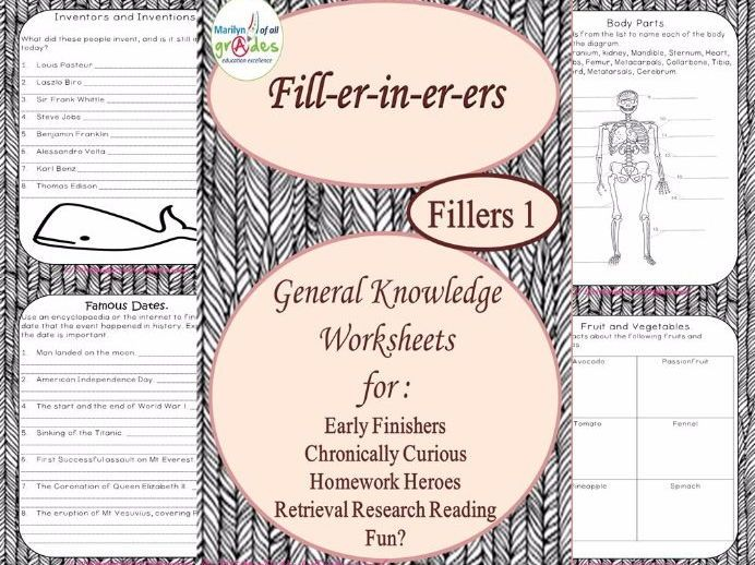 General Knowledge Fill-er-in-er-ers - Set 1