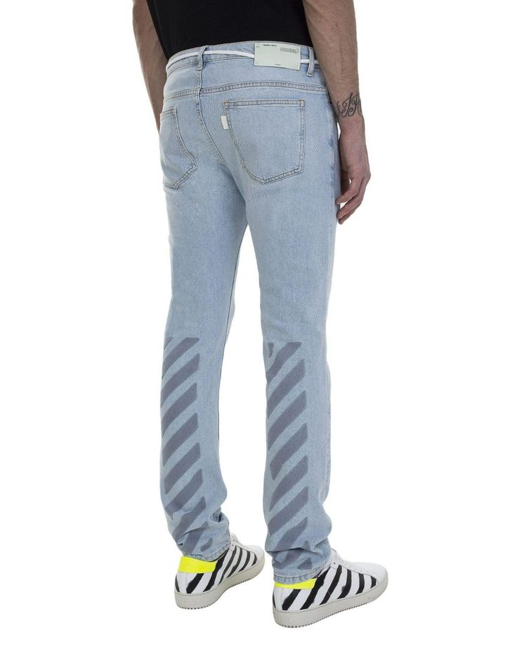 Buy Off-White c/o Virgil Abloh Men's Blue Skinny Spray Stripes Denim Jeans, starting at $439. Similar products also available. SALE now on!