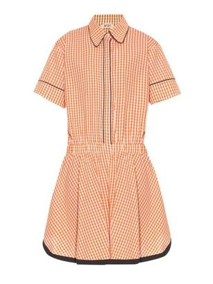 NO. 21 Gingham-check shirtdress - Shop for women's Shirt - ORANGE WHITE Shirt
