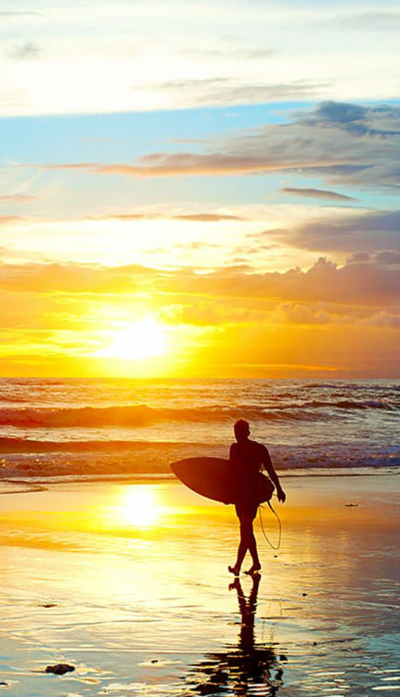 Sunset at Canggu beach in Bali. Beautiful spot for sunset and great surfing.