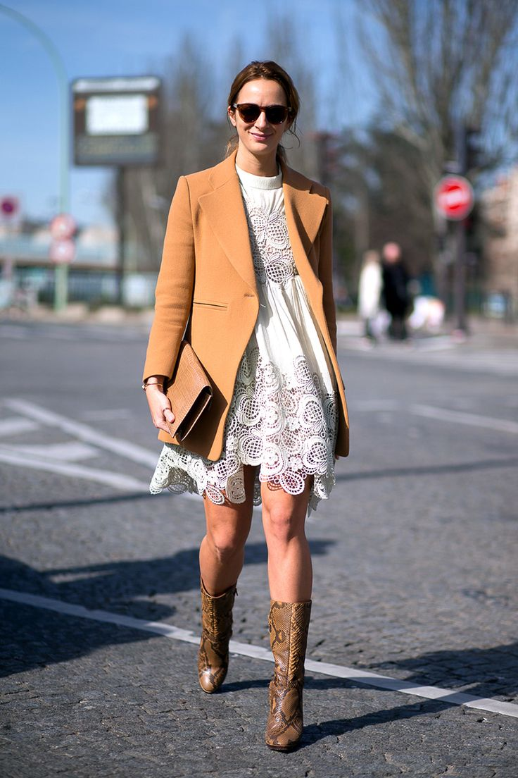 Alexia Niedzielski in Chloé dress and shoes. Paris FW, Fall 2015.