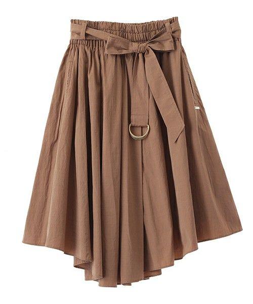 The Virgnia(ザ ヴァージニア)の《予約》シャツ地共布ベルト付イレギュラーヘムスカート(スカート)|ベージュ