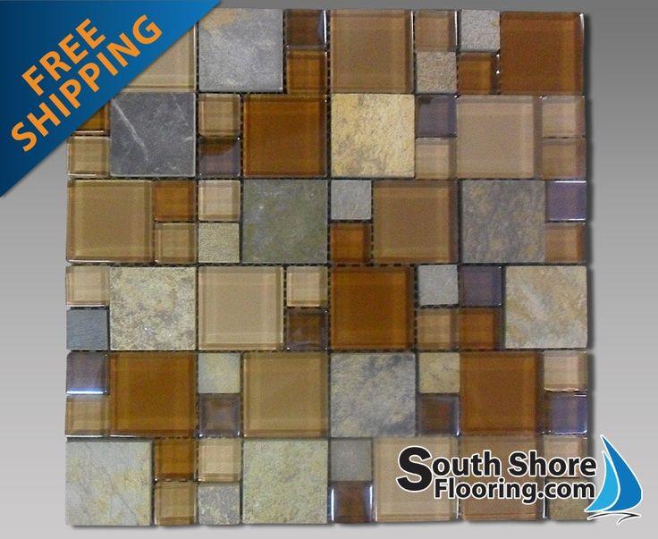 Metallic Gl And Slate Modular Mosaic Backsplash 12 X12 Sheet Al1230