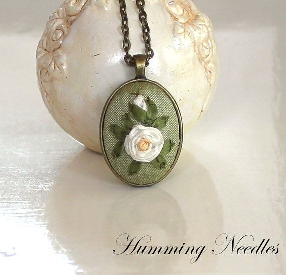Deep Red Roses Silk Ribbon Embroidery pendant by HummingNeedles