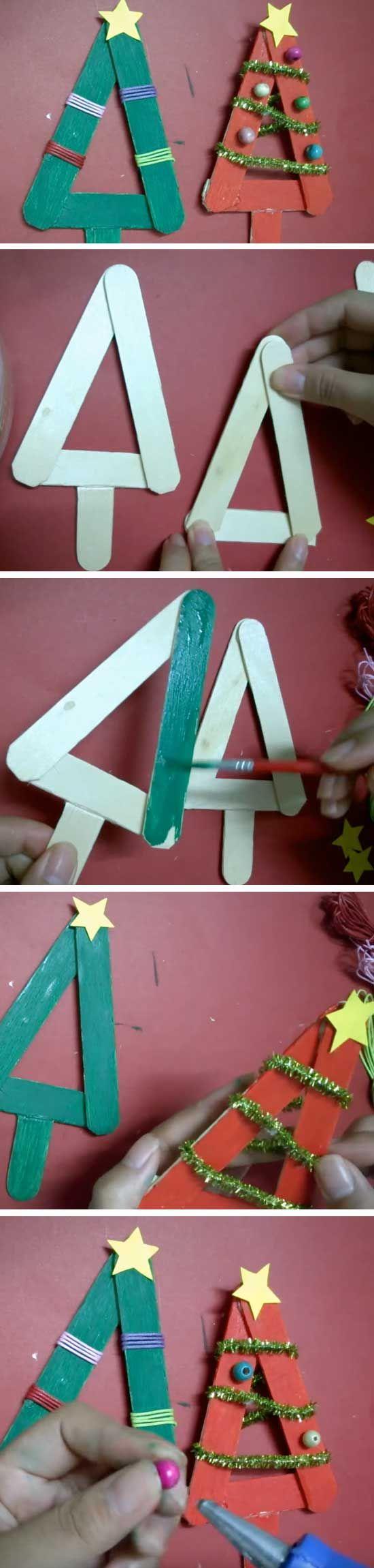 Christmas Trees | 16 DIY Christmas Popsicle Sticks Crafts for Kids