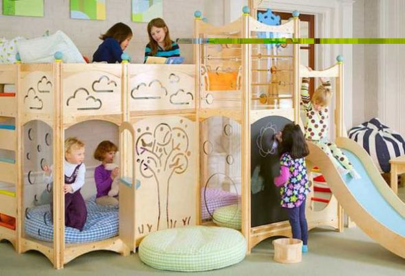 Wood Bunk Beds for youths which has a Miniature Earth of Fantasy Playground