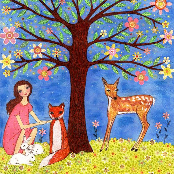 Woodland Animals Painting, Whimsical Folk Art Girl with Deer, Fox and Rabbits Art Print on Wood, Art for Nursery Decor and Girls Bedroom. $35.00, via Etsy.