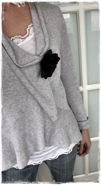 Soft grey sweater with flower pin.: Black Rose, Flower Pin, Grey Sweater, Style, Lace Tank, Black Flowers, Slouchy Sweater, Gray Sweater