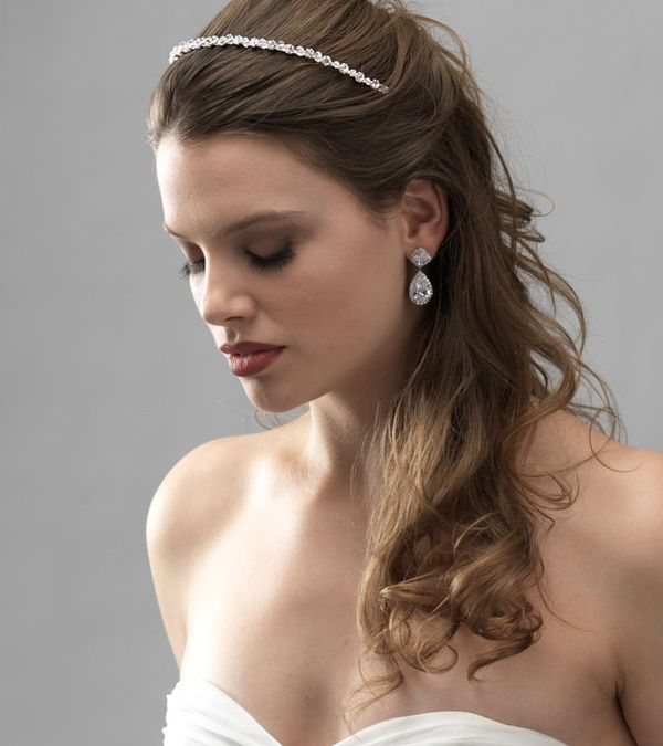 Wedding Hairstyles With Headband And Veil: Half Updo With Pieces Covering The Band