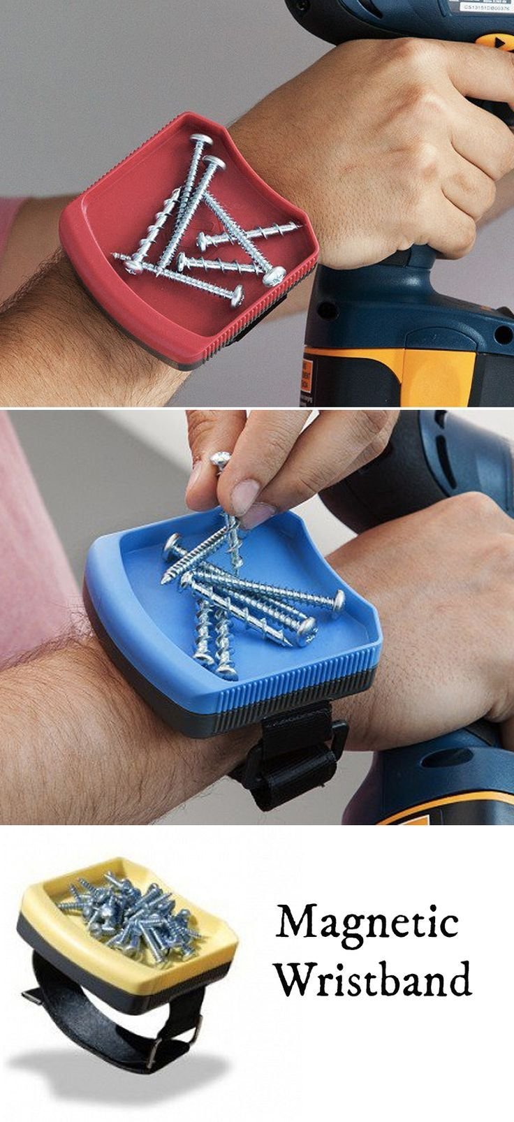 This magnetic wristband uses a high grade rare earth magnet to hold most hardware, tools, pins, and other metallic objects over your wrist.