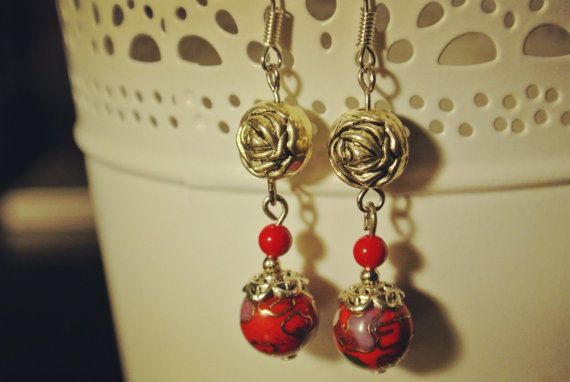 red drop dangle drop earrings with rose charm and cloisonne bead Chinese Oriental style
