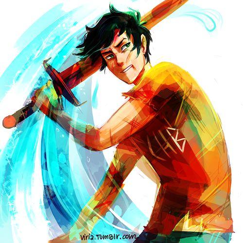 viria: I tried drawing more-less dynamic badass Percy