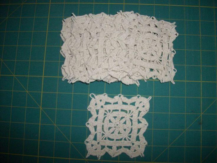 -VINTAGE- Crochet Lace Cotton Doilies Lot of 12 beige