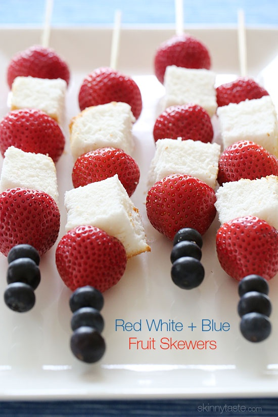 Red White and Blue Fruit Skewers with Cheesecake Yogurt Dipping sauce! I love a healthy Independence Day dessert!