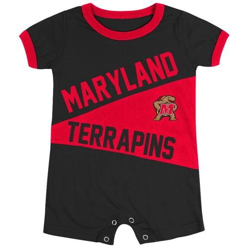 The classic megaphone design on this baby Terrapins romper is loaded with team spirit and school pride! The 100% cotton knit outfit features official team colors, screen printed team name and logo, and snaps at the legs for quick and easy half time changes.