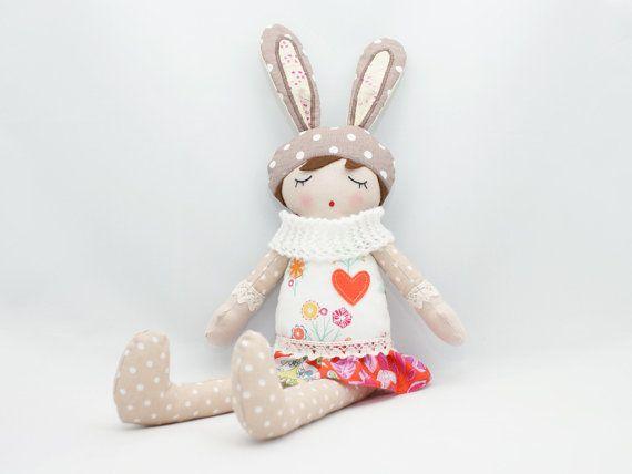 Florka  Rag doll Soft doll Sleepy doll Handmade by PatchworkModa