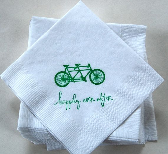 Tandem Bicycle Napkins / Set of 50 / Bar Napkins / Perfect for your wedding on Etsy, $13.00
