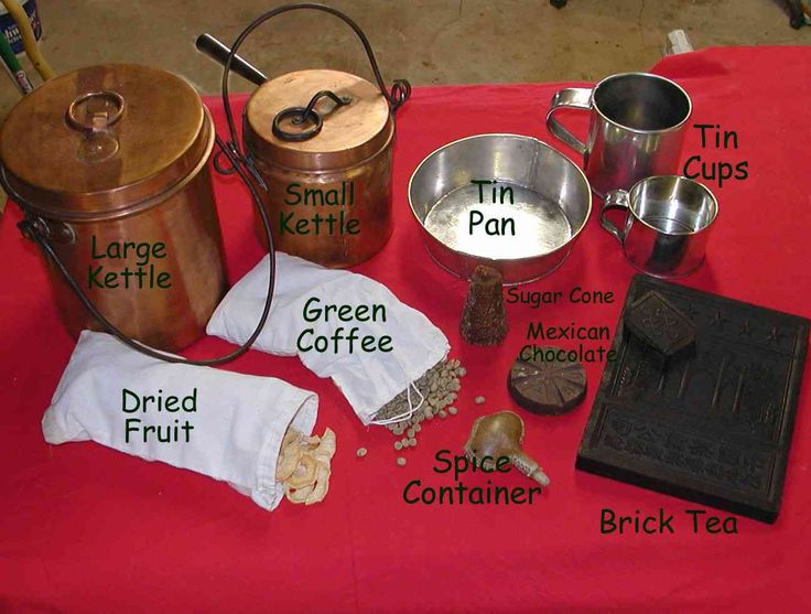 COOKING UTENSILS AND FOODS - foods: buffalo, deer, elk, greens, milk, In starving times anything might be eaten including mules and horses, wolves, coyotes, rawhide straps, moccasins, hides, saddles, etc. Supply trains bringing goods to rendezvous would often drive a flock of sheep or cattle to provide food Salt pork in barrels would might also be packed. http://www.mman.us