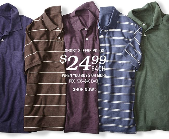 HARBOR BAY SHORE SLEEVED POLOS | $24.99 EACH WHEN YOU BUY 2 OR MORE