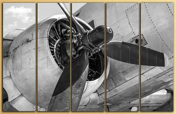 Airplane Aircraft Turbine Turbofan Engine Propeller Diptych