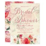 Pretty Peach Peonies Bridal Shower Invitations