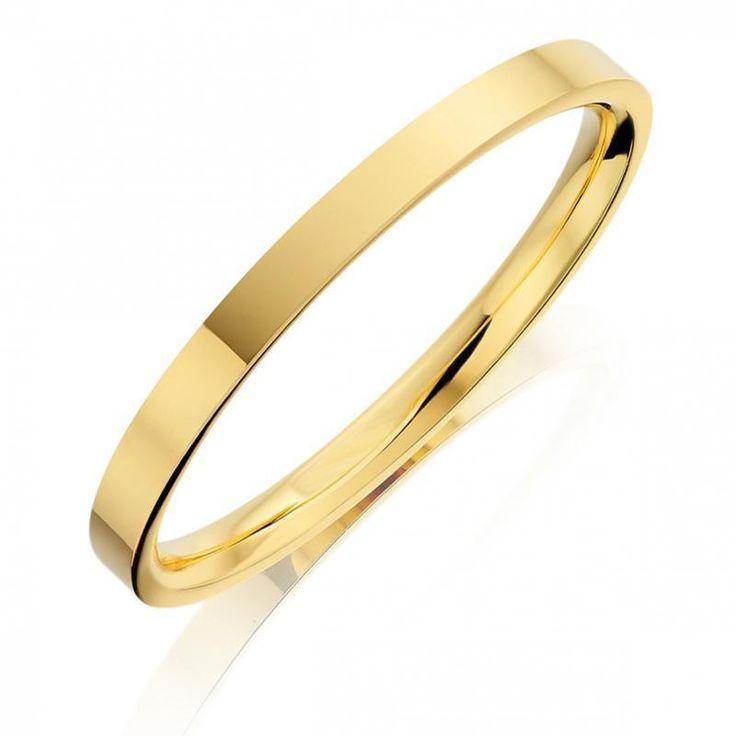 Solid 18ct Gold 4mm flat shape Bangle