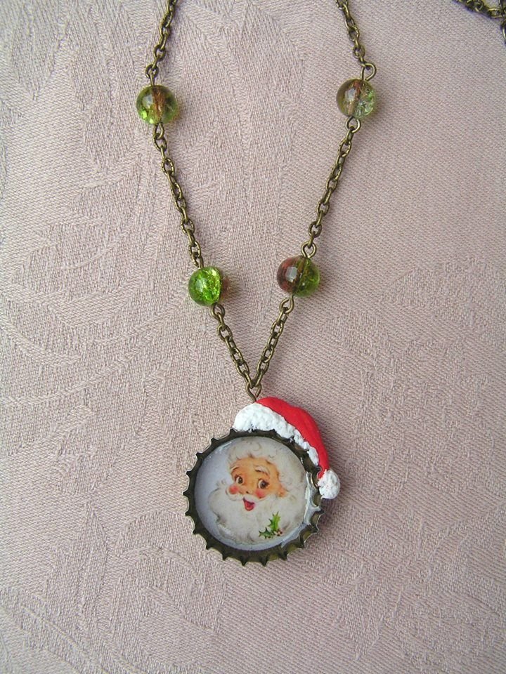 Old Santa Claus  --    To the smiling old Santa I made a polymer clay hat, and then I completed some cracked glass beads the necklace.