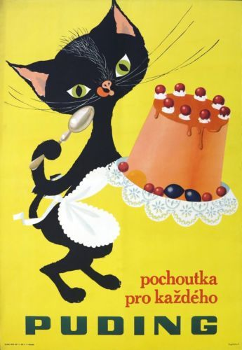 Vtg Orig. Poster Pudding advertising with black cat, Czechoslovakia