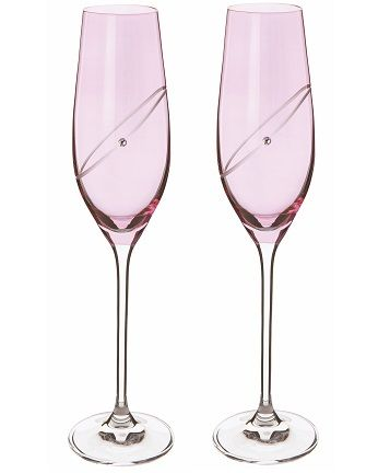 Dartington Crystal Ruby Celebration Glitz Flutes