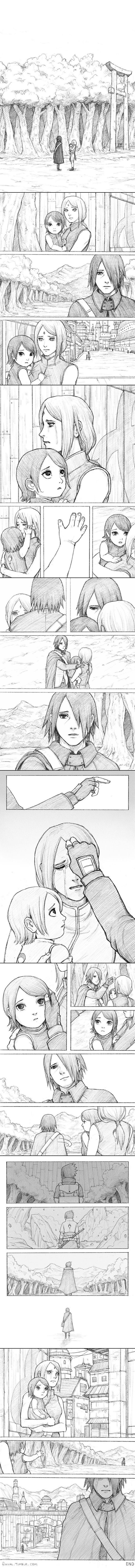 it shows here that sasuke is hurting too. every time he has to leave sakura behind, and now even more , because it's not just the two of them. it's sarada too.