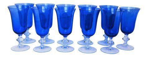 Vintage Royal Blue Wine Glasses - Set of 11 on Chairish.com
