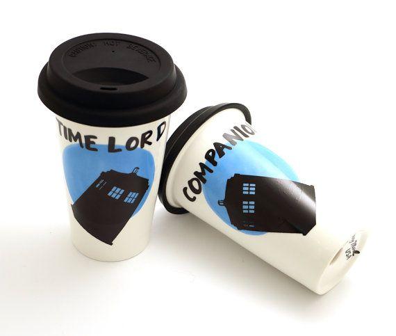 Mr. and Mrs. mug set  Doctor Who mugs  Dr. Who travel by LennyMud