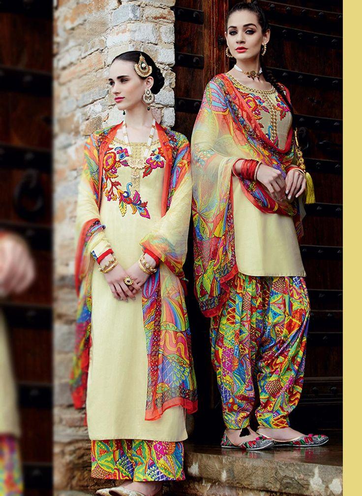 $68.28 Beige Cotton Satin Punjabi Suit 57779