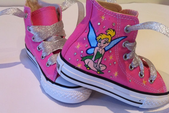 Hand Painted Tinkerbell On Pink Converse Shoes COP32 by MYDIAMONTE, $146.00